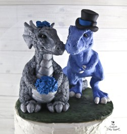 Dinosaur T-Rex and Dragon Realistic Wedding Cake Topper