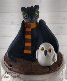 How to Train your Dragon Nightfury and Harry Potter Owl Cake Topper