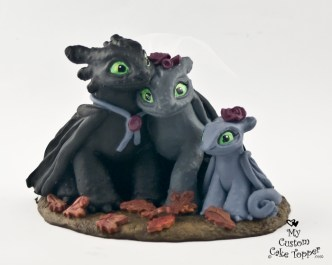 Nightfury Bride and Groom with Baby Wedding Cake Topper