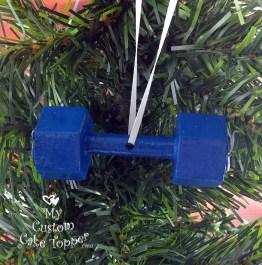 Dumbbell Blue Christmas Ornament