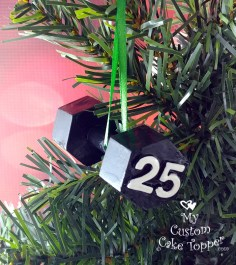 Dumbbell Black Christmas Ornament