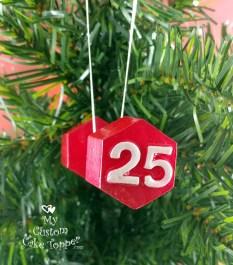 Dumbbell Red Christmas Ornament
