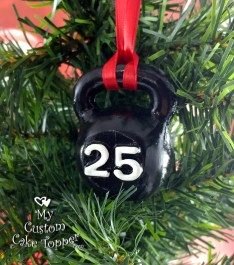 Kettlebell Black Christmas Ornament