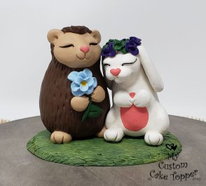 Hedgehog and Bunny Cake Topper