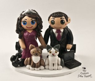 Bride and Groom with Cats, Weights, Computer Cake Topper