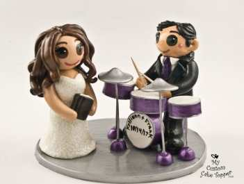 Bride and Groom Drumming and Reading Cake Topper
