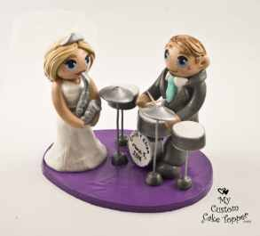 Bride and Groom with Drums and Sax Cake Topper