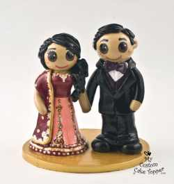 Bride and Groom Rose and Purple East Indian Attire