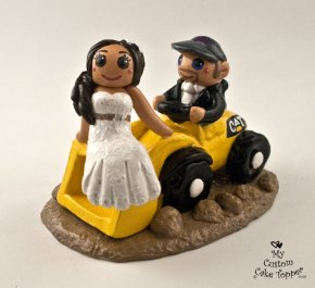 Bride and Groom Riding Cat Front Loader Cake Topper