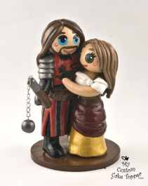Bride and Groom Knight Medieval Cake Topper
