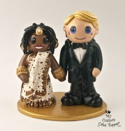 Bride and Groom East Indian Attire Cake Topper