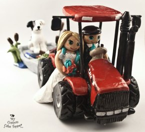 Bride and Groom Riding Tractor Pulling Boat Cake Topper 1