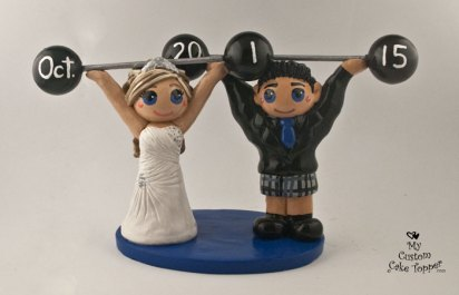 Bride and Groom Weightlifting Scottish Cake Topper