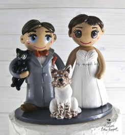 Bride and Bride with Dog and Cat Cake Topper
