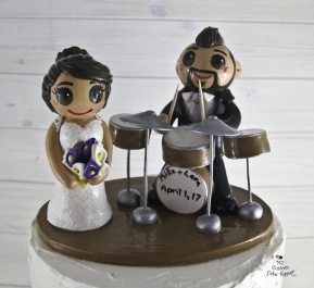 Bride and Groom Drummer Cake Topper