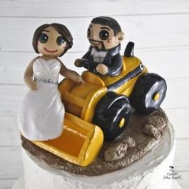 Bride and Groom Cat Front Loader Cake Topper