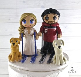 Bride and Groom Skiing with Dogs Cake Topper
