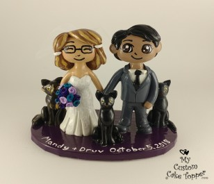 Bride and Groom Cartoon with Cats Cake Topper