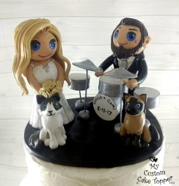 Bride and Groom Drums and Cats Cake Topper