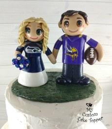 Bride and Groom Football Fans Custom Wedding Cake Topper
