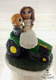 Bride and Groom Riding John Deere Tractor Cake Topper