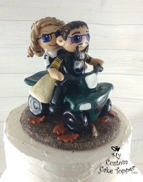 Bride and Groom Fall Quading Cake Topper