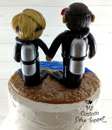 Bride and Groom Scuba Divers Cake Topper 2