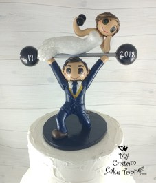 Bride and Groom Weightlifting Cake Topper