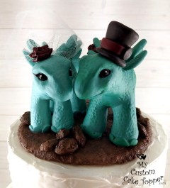 Dinosaurs Stegosaurus in Teal Cake Topper