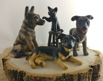 Dogs and Cat Scene Wedding Cake Topper