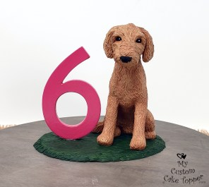 Labradoodle Dog 6th Birthday Cake Topper