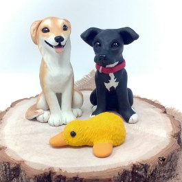 Cartoon Dogs with Ducky Wedding Cake Topper