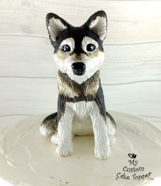 Husky Dog Sculpture Cake Topper