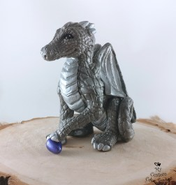 Dragon Silver Grey Sculpture Cake Topper
