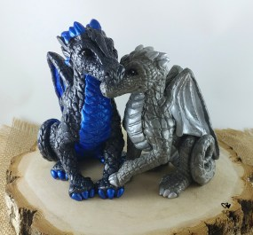 Silver and Blue Dragon Cake Topper