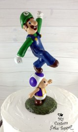 Luigi Jumping on Toad Cake Topper