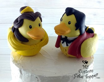Belle and Gaston Beauty and the Beast Rubber Ducks Cake Topper