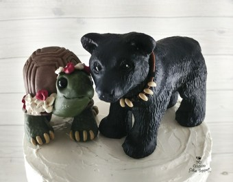 Land Turtle and Black Bear Cake Topper