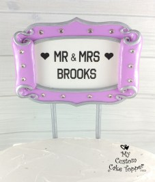Broadway Hollywood Sign Silver and Purple Cake Topper