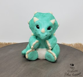 Baby Dinosaur Triceratops Announcement Cake Topper