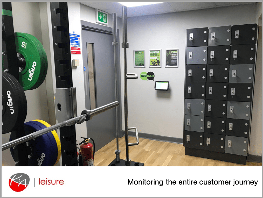 Image of a KA Leisure gym showing their MyCustomerLens 'talk to us' feedback point