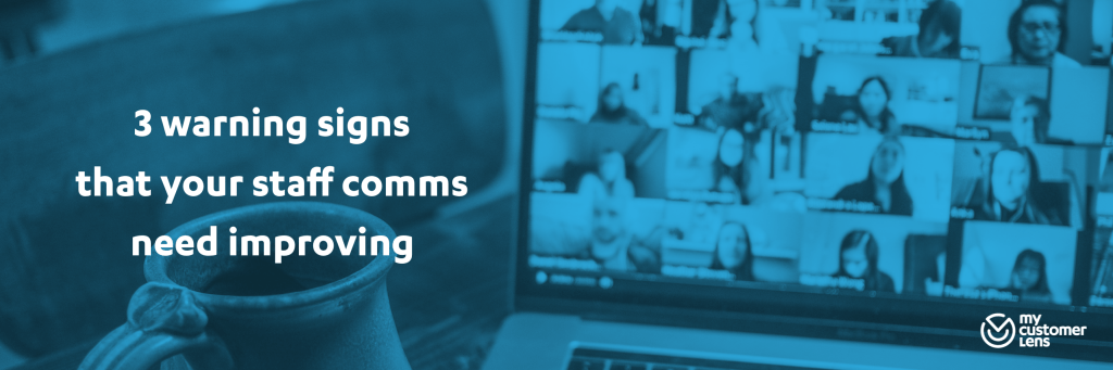 Headline 3 warning signs that your staff comms need improving with picture of video call