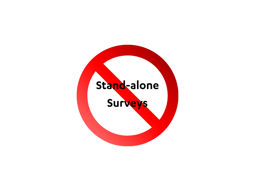 Say no to stand-alone surveys