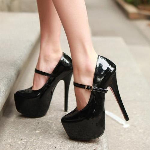 Black patent platform stilettoes