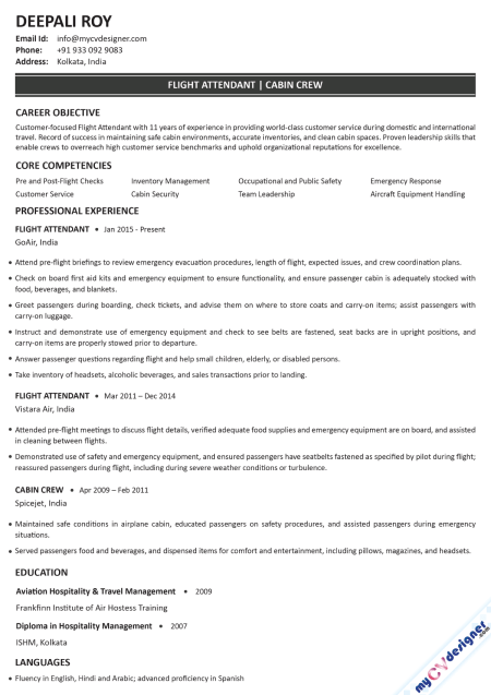 Flight Attendant Text Resume Example