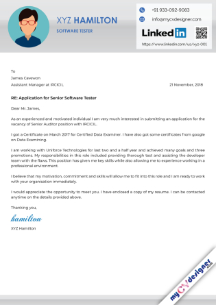 Cover Letter - Designed (MCDCLD0113)