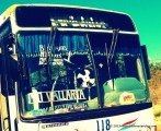 Mexican busses plaster their front window..