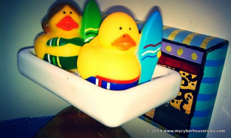 Our his and hers surfing duckies.