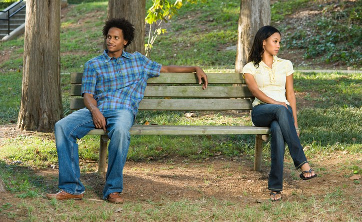 couple on bench upset