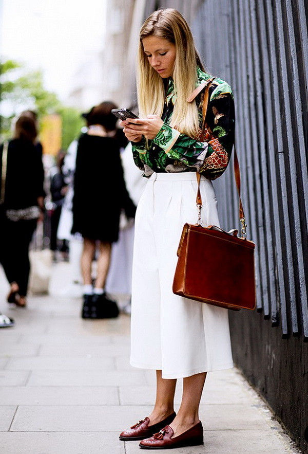 loafers and white culottes